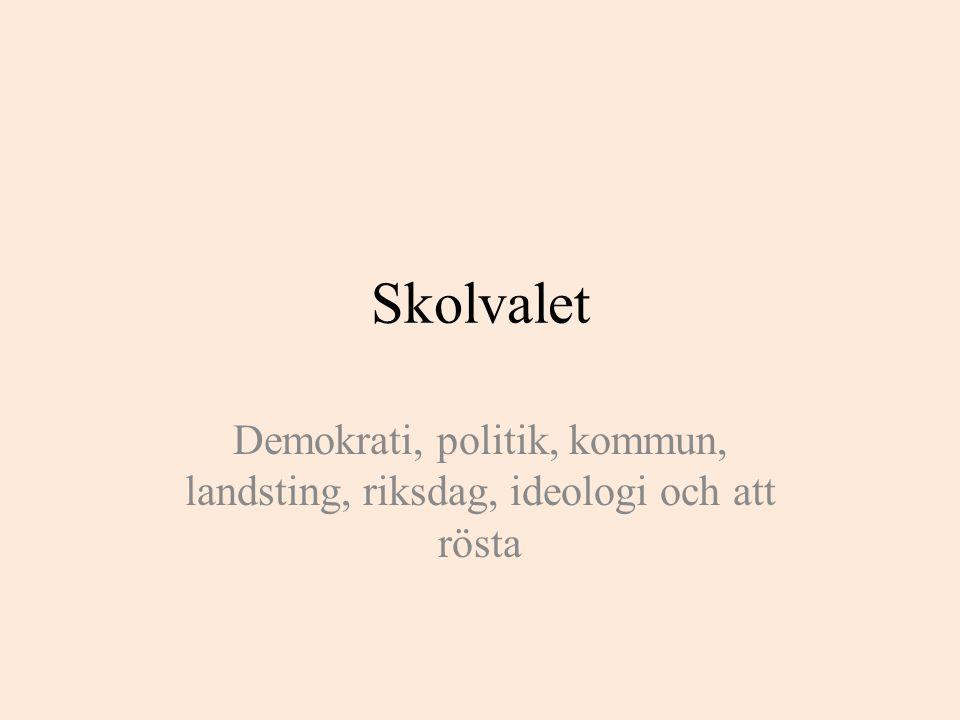 Skolvalet Demokrati, politik, kommun, landsting, riksdag, ideologi och att rösta
