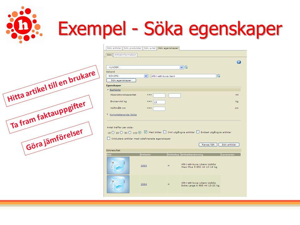 Exempel - Söka egenskaper Hitta artikel till en brukare Göra jämförelser Ta fram faktauppgifter