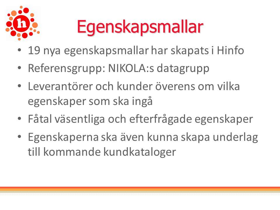 Egenskapsmallar 19 nya egenskapsmallar har skapats i Hinfo Referensgrupp: NIKOLA:s datagrupp Leverantörer och kunder överens om vilka egenskaper som ska ingå Fåtal väsentliga och efterfrågade egenskaper Egenskaperna ska även kunna skapa underlag till kommande kundkataloger