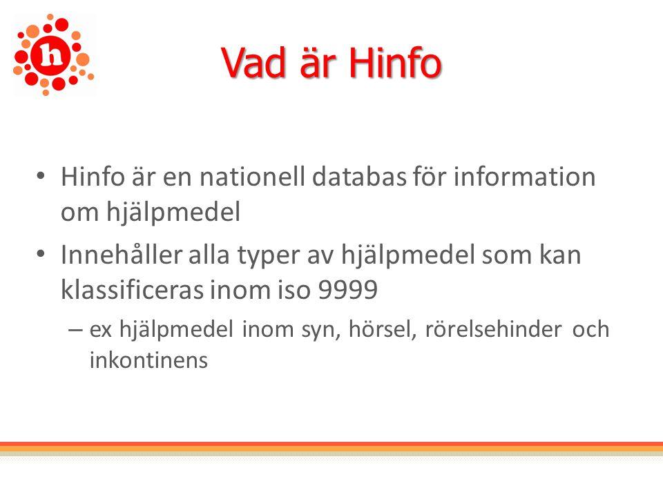 Vad är Hinfo Hinfo är en nationell databas för information om hjälpmedel Innehåller alla typer av hjälpmedel som kan klassificeras inom iso 9999 – ex hjälpmedel inom syn, hörsel, rörelsehinder och inkontinens
