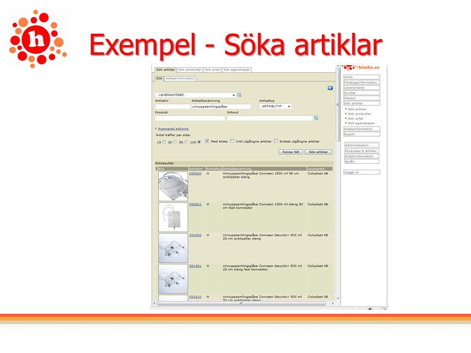 Exempel - Söka artiklar