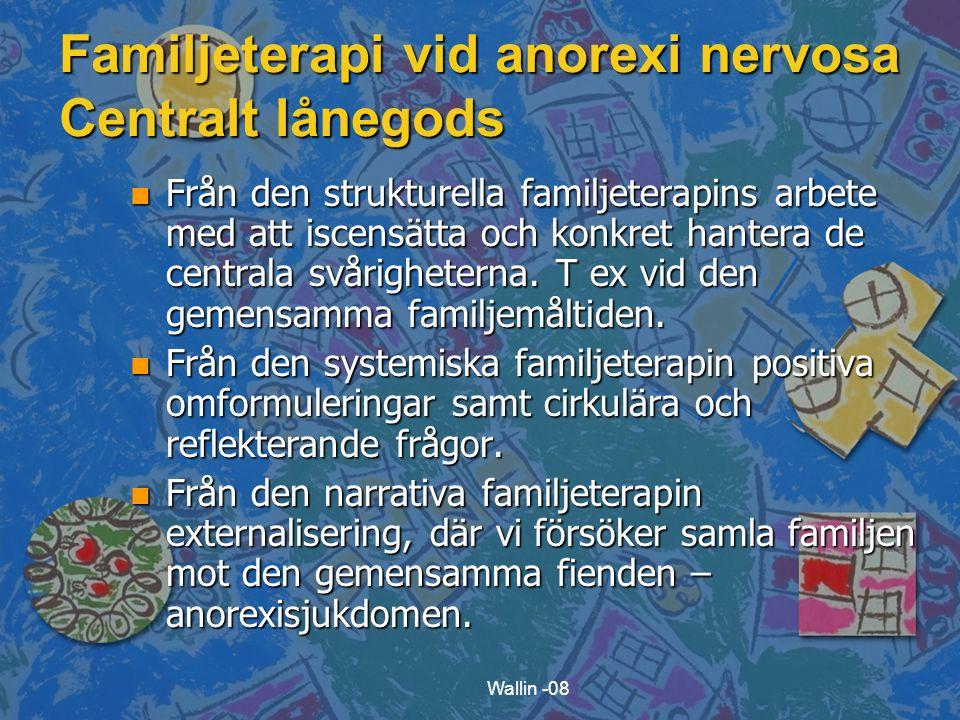Wallin -08 Familjeterapi vid anorexi nervosa Centralt lånegods n Från den strukturella familjeterapins arbete med att iscensätta och konkret hantera de centrala svårigheterna.