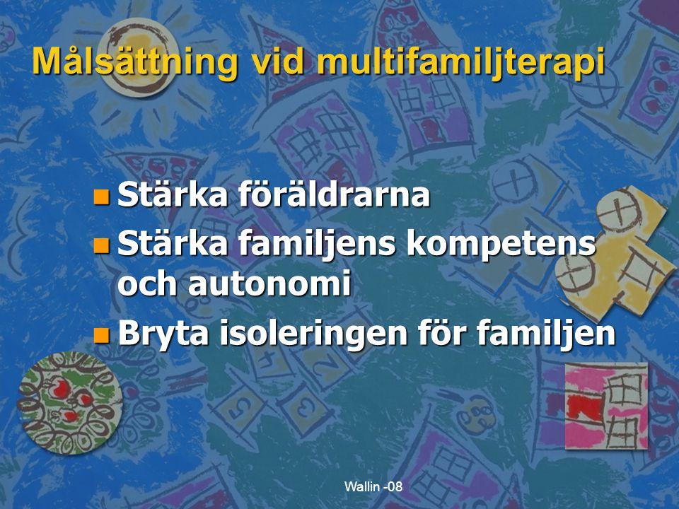 Wallin -08 Målsättning vid multifamiljterapi n Stärka föräldrarna n Stärka familjens kompetens och autonomi n Bryta isoleringen för familjen