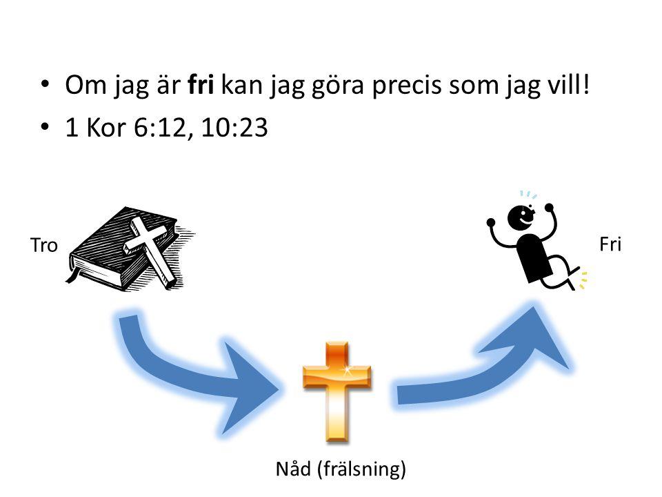 Fri Nåd (frälsning) Tro Om jag är fri kan jag göra precis som jag vill! 1 Kor 6:12, 10:23
