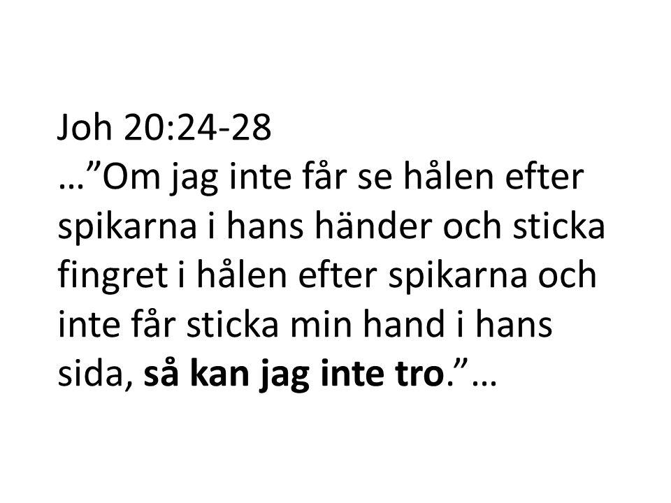 Joh 20:24-28 … Om jag inte får se hålen efter spikarna i hans händer och sticka fingret i hålen efter spikarna och inte får sticka min hand i hans sida, så kan jag inte tro. …