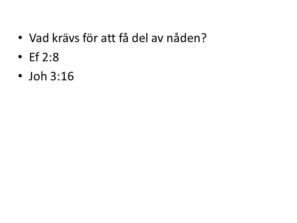 Vad krävs för att få del av nåden? Ef 2:8 Joh 3:16