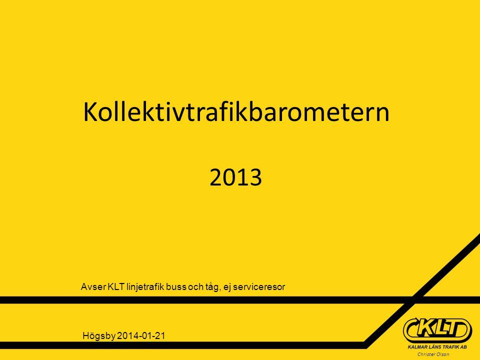 Christer Olson Andel resenärer som reser kollektivt i Kalmar län I procent Källa: 1200 intervjuer/år 31% reser kollektivt minst en gång i månaden (33% 2012) Små förändringar i resfrekvensen!