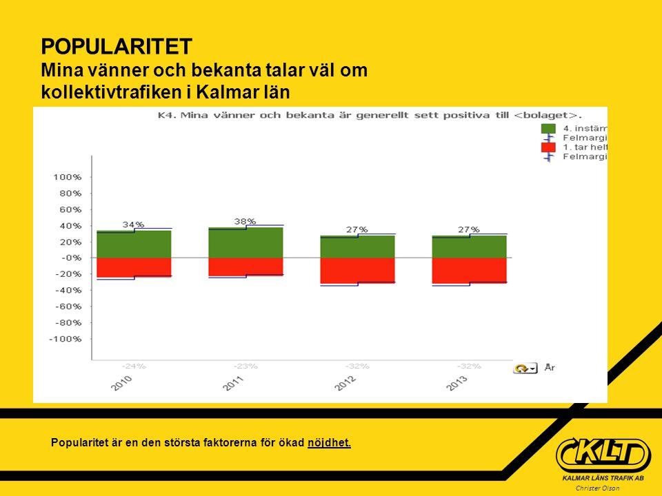 Christer Olson POPULARITET Mina vänner och bekanta talar väl om kollektivtrafiken i Kalmar län Popularitet är en den största faktorerna för ökad nöjdh