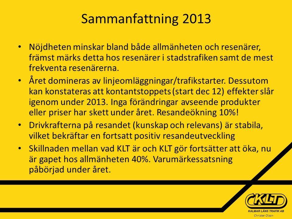 Christer Olson Sammanfattning 2013 Nöjdheten minskar bland både allmänheten och resenärer, främst märks detta hos resenärer i stadstrafiken samt de me