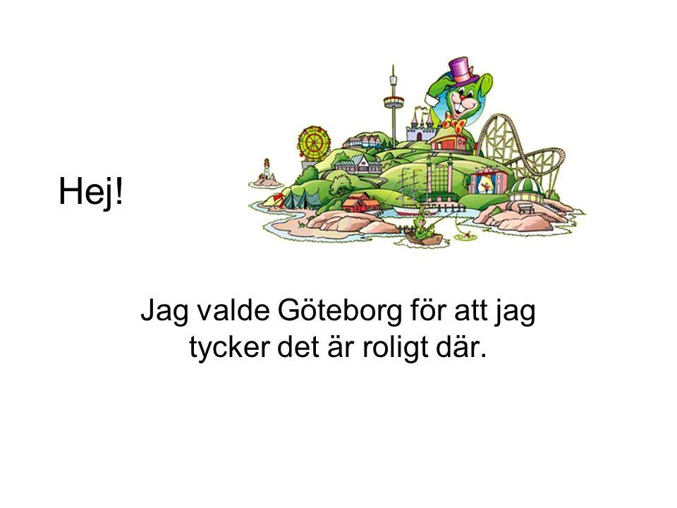 Hej! Jag valde Göteborg för att jag tycker det är roligt där.
