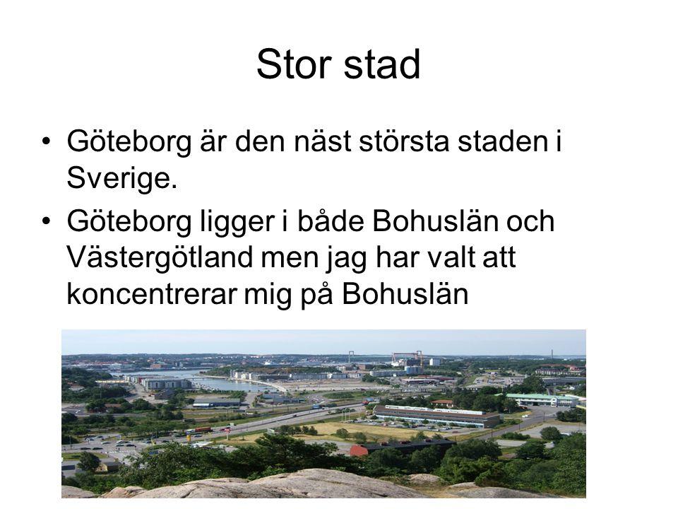 Stor stad Göteborg är den näst största staden i Sverige. Göteborg ligger i både Bohuslän och Västergötland men jag har valt att koncentrerar mig på Bo