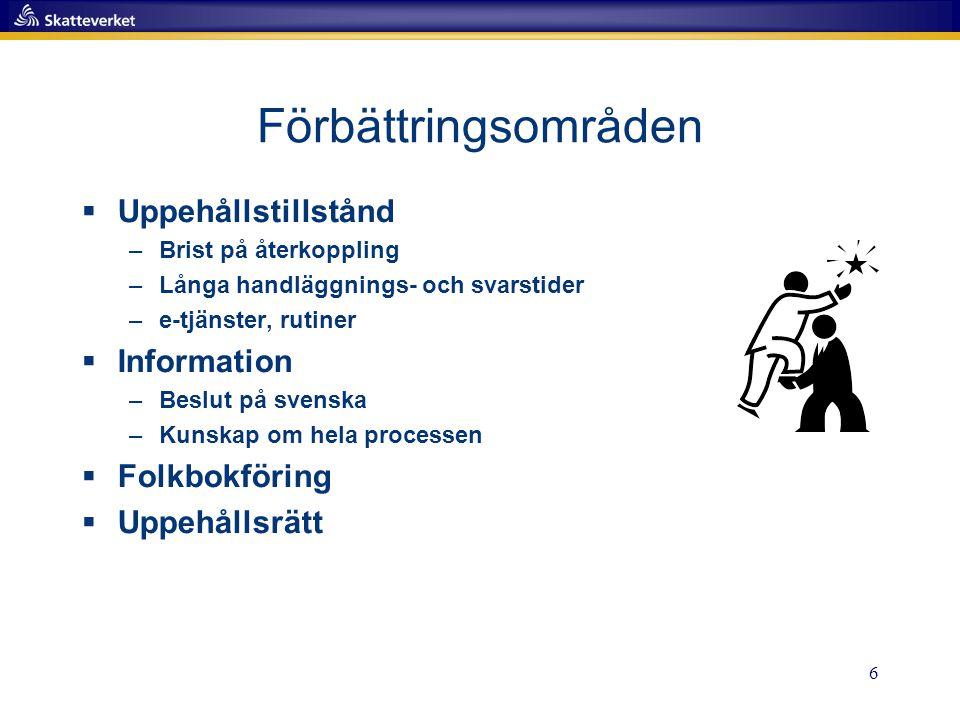 6 Förbättringsområden  Uppehållstillstånd –Brist på återkoppling –Långa handläggnings- och svarstider –e-tjänster, rutiner  Information –Beslut på svenska –Kunskap om hela processen  Folkbokföring  Uppehållsrätt