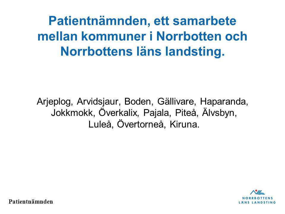 Patientnämnden Patientnämnden, ett samarbete mellan kommuner i Norrbotten och Norrbottens läns landsting. Arjeplog, Arvidsjaur, Boden, Gällivare, Hapa