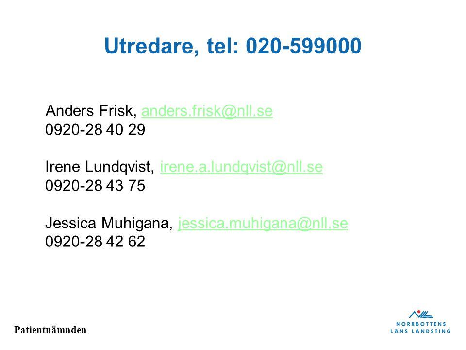 Patientnämnden Utredare, tel: 020-599000 Anders Frisk, anders.frisk@nll.se 0920-28 40 29 Irene Lundqvist, irene.a.lundqvist@nll.se 0920-28 43 75 Jessi