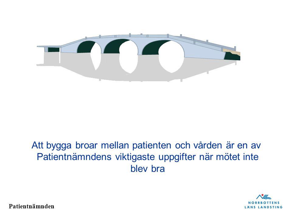 Patientnämnden Att bygga broar mellan patienten och vården är en av Patientnämndens viktigaste uppgifter när mötet inte blev bra