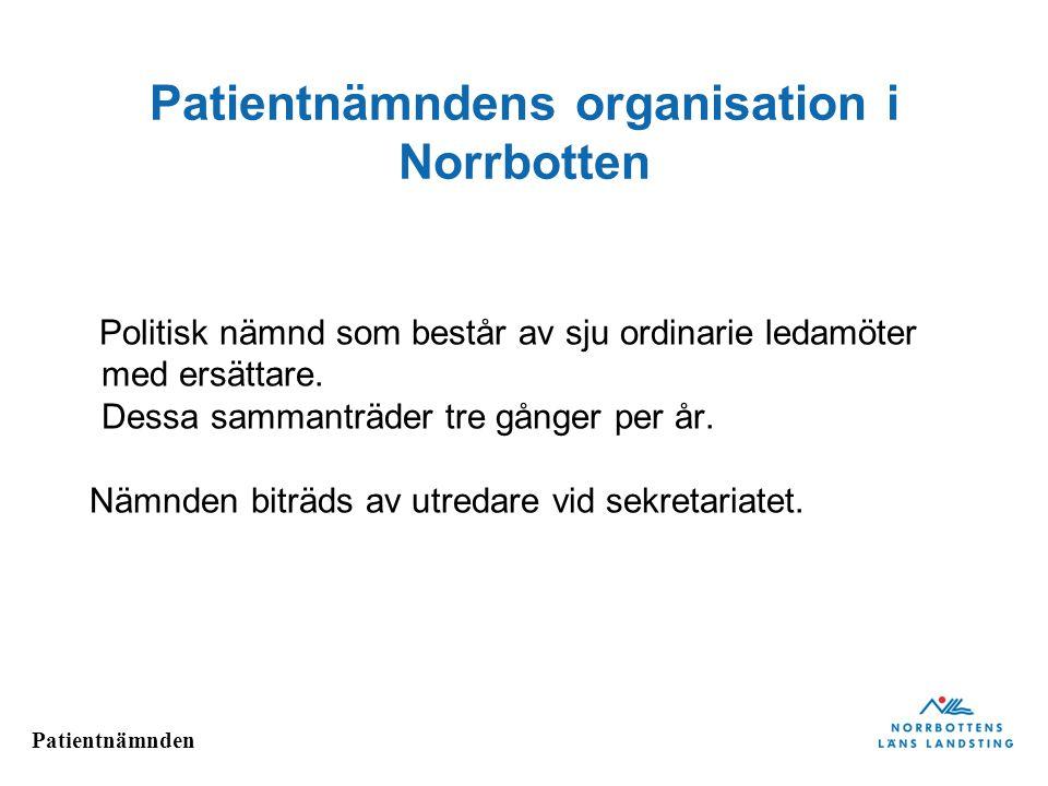 Patientnämnden Patientnämndens organisation i Norrbotten Politisk nämnd som består av sju ordinarie ledamöter med ersättare. Dessa sammanträder tre gå