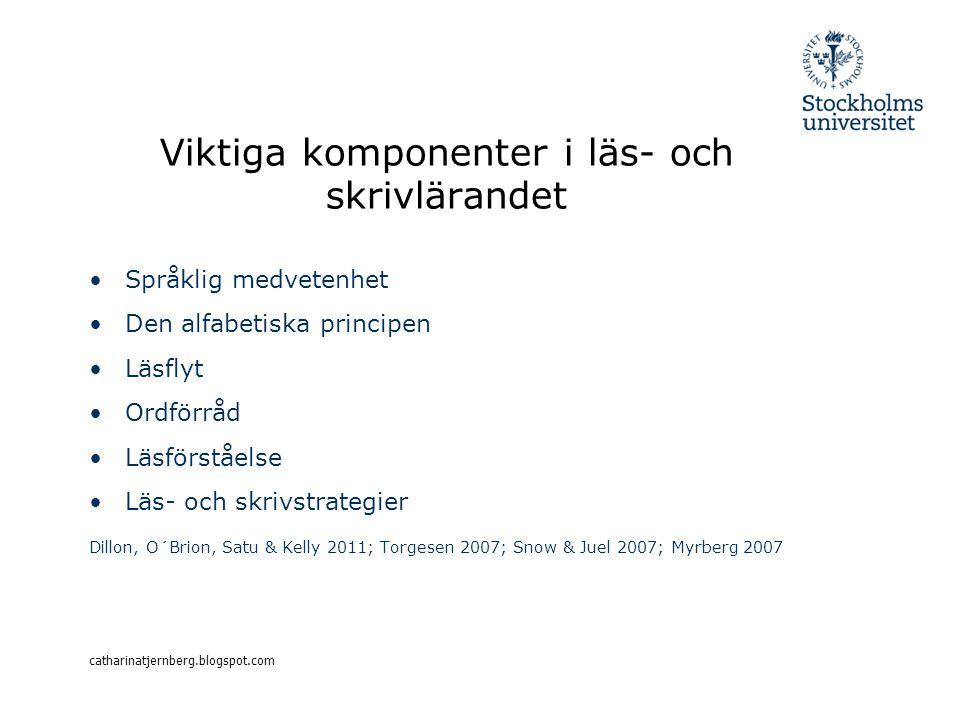 Viktiga komponenter i läs- och skrivlärandet Språklig medvetenhet Den alfabetiska principen Läsflyt Ordförråd Läsförståelse Läs- och skrivstrategier D