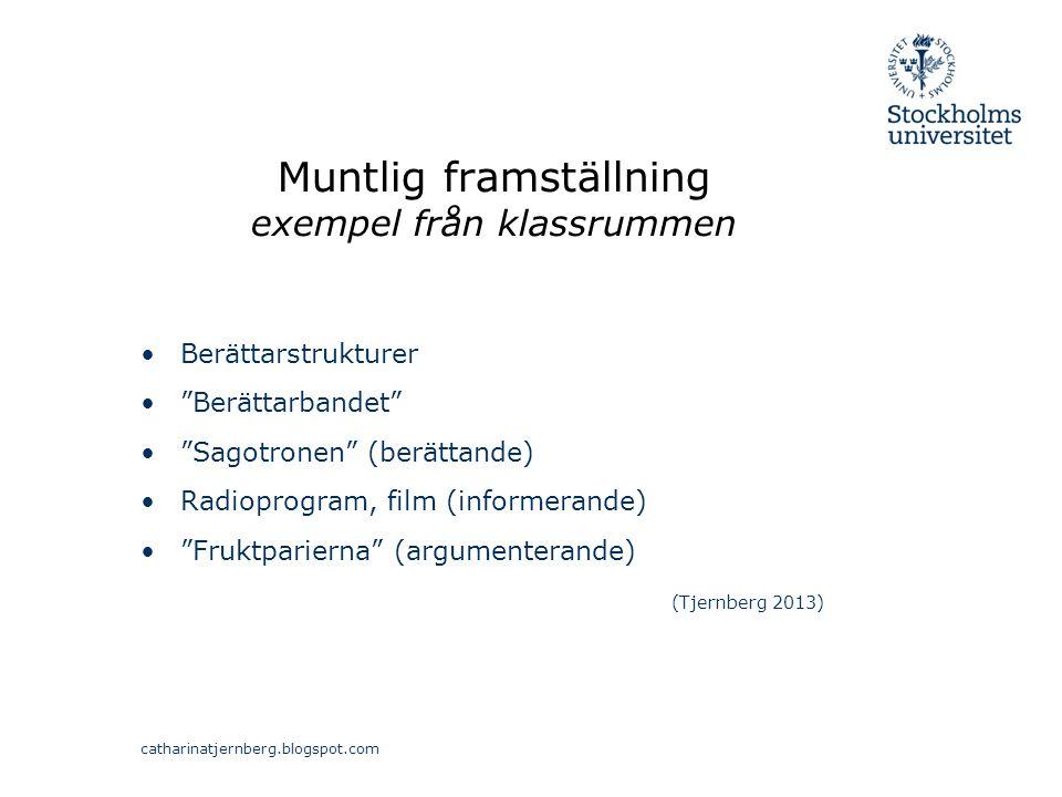 """Muntlig framställning exempel från klassrummen Berättarstrukturer """"Berättarbandet"""" """"Sagotronen"""" (berättande) Radioprogram, film (informerande) """"Fruktp"""