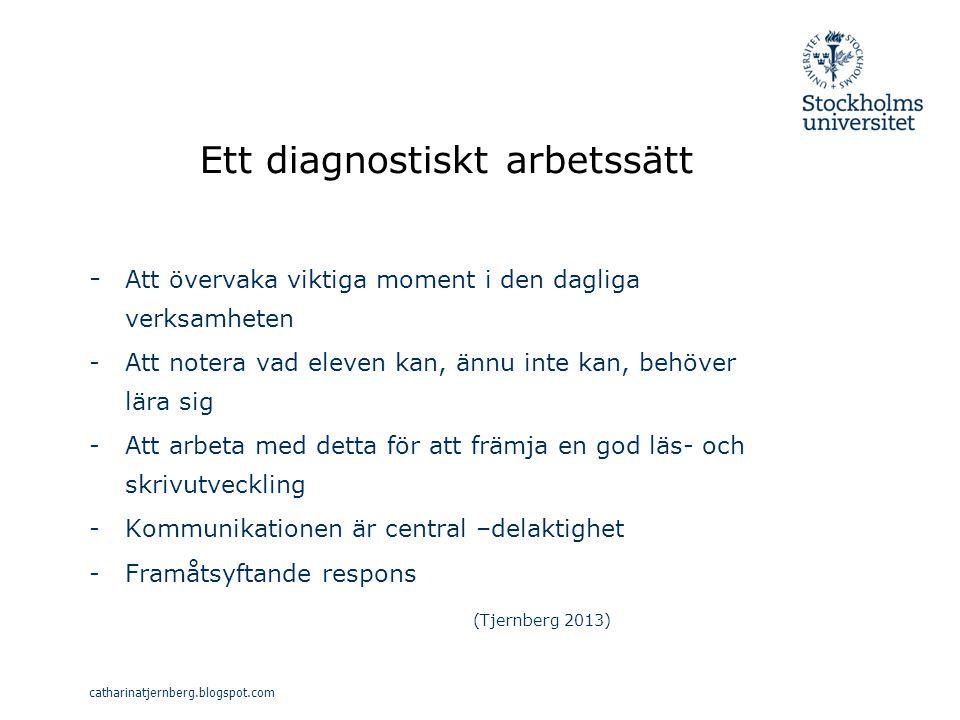 Ett diagnostiskt arbetssätt - Att övervaka viktiga moment i den dagliga verksamheten - Att notera vad eleven kan, ännu inte kan, behöver lära sig -Att