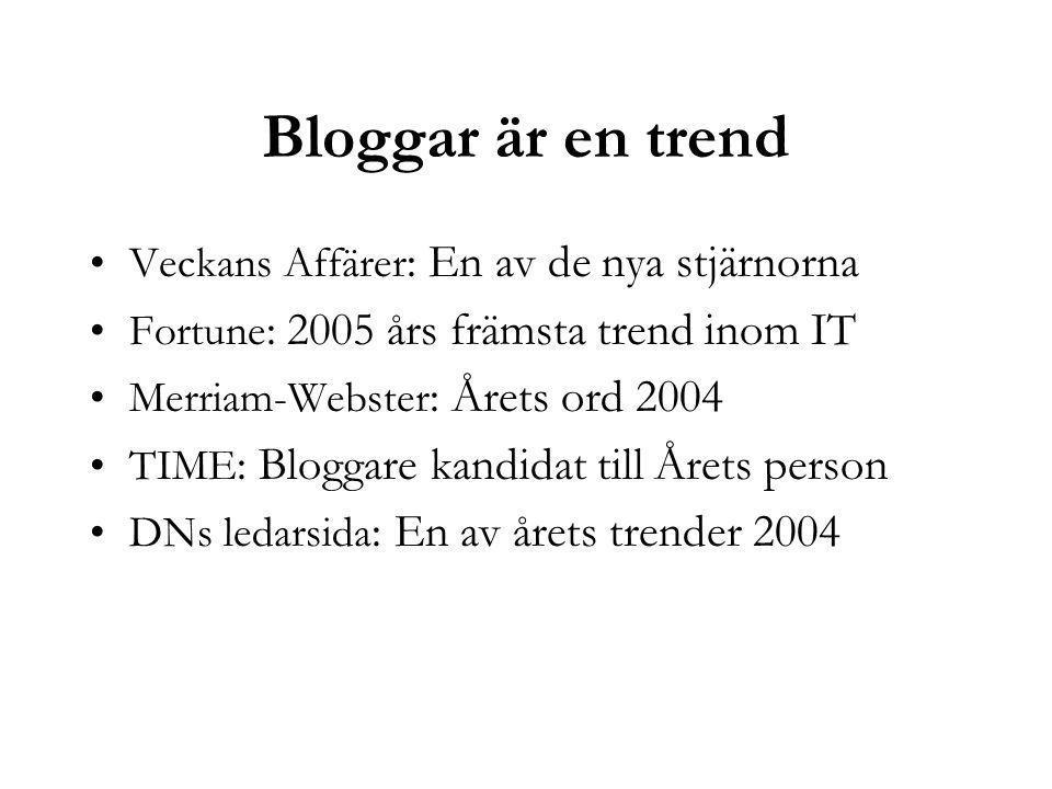 Bloggar är en trend Veckans Affärer : En av de nya stjärnorna Fortune : 2005 års främsta trend inom IT Merriam-Webster : Årets ord 2004 TIME : Bloggare kandidat till Årets person DNs ledarsida : En av årets trender 2004