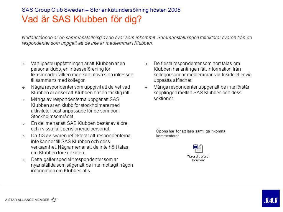 SAS Group Club Sweden – Stor enkätundersökning hösten 2005 Vad är SAS Klubben för dig.