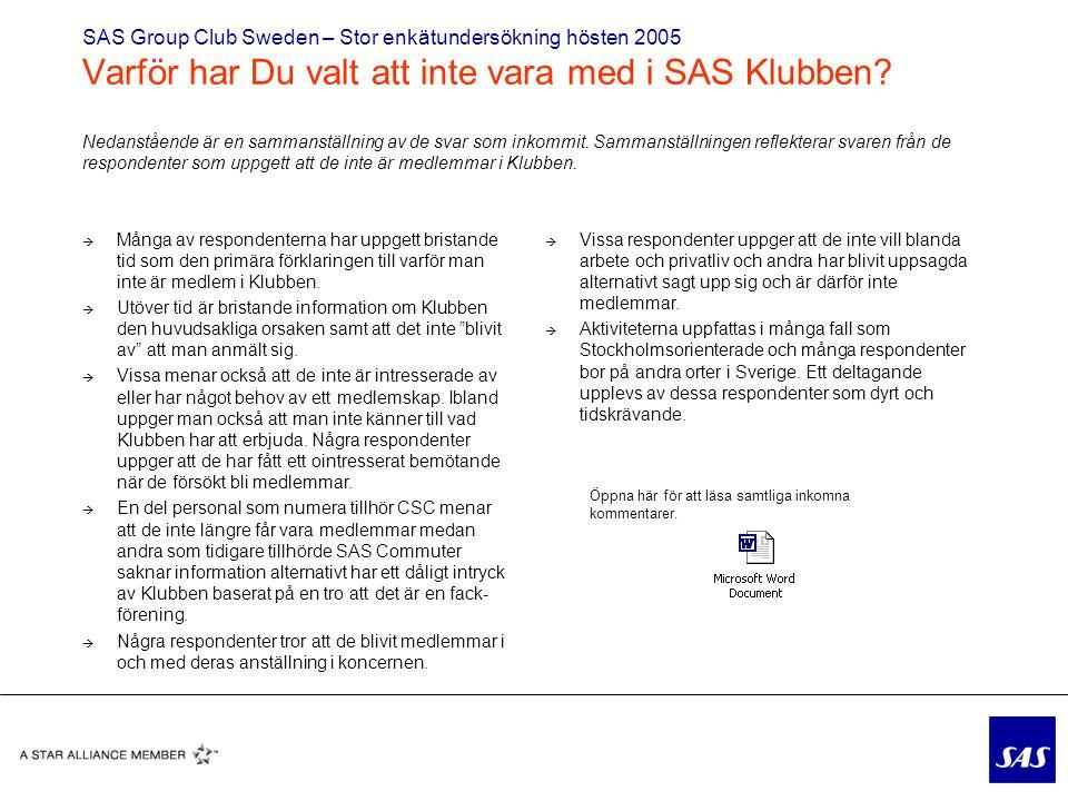 SAS Group Club Sweden – Stor enkätundersökning hösten 2005 Varför har Du valt att inte vara med i SAS Klubben.