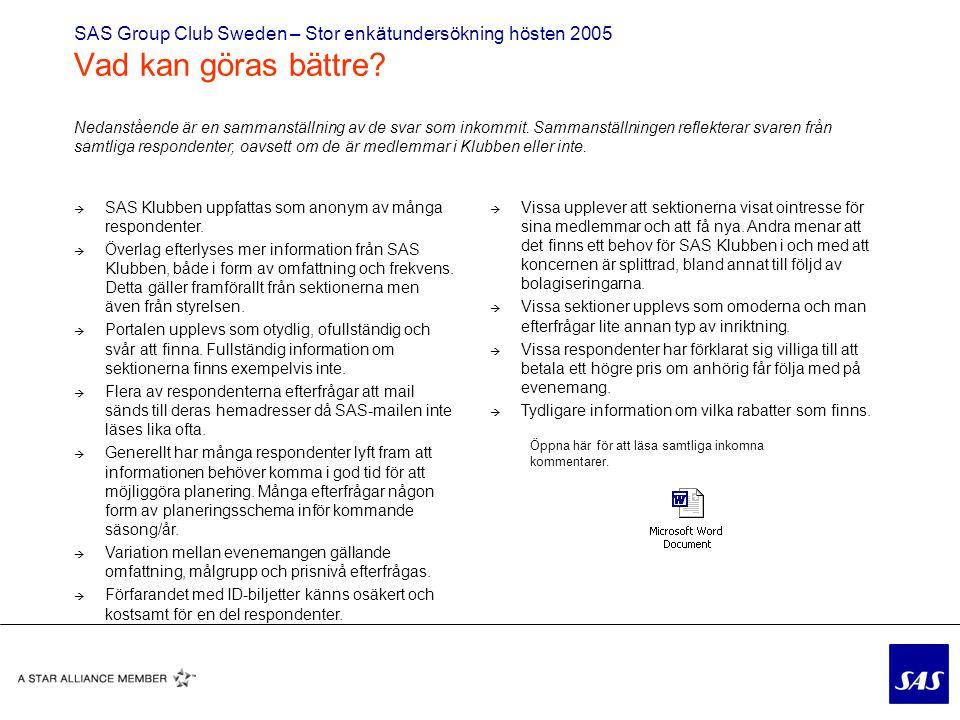 SAS Group Club Sweden – Stor enkätundersökning hösten 2005 Vad kan göras bättre.