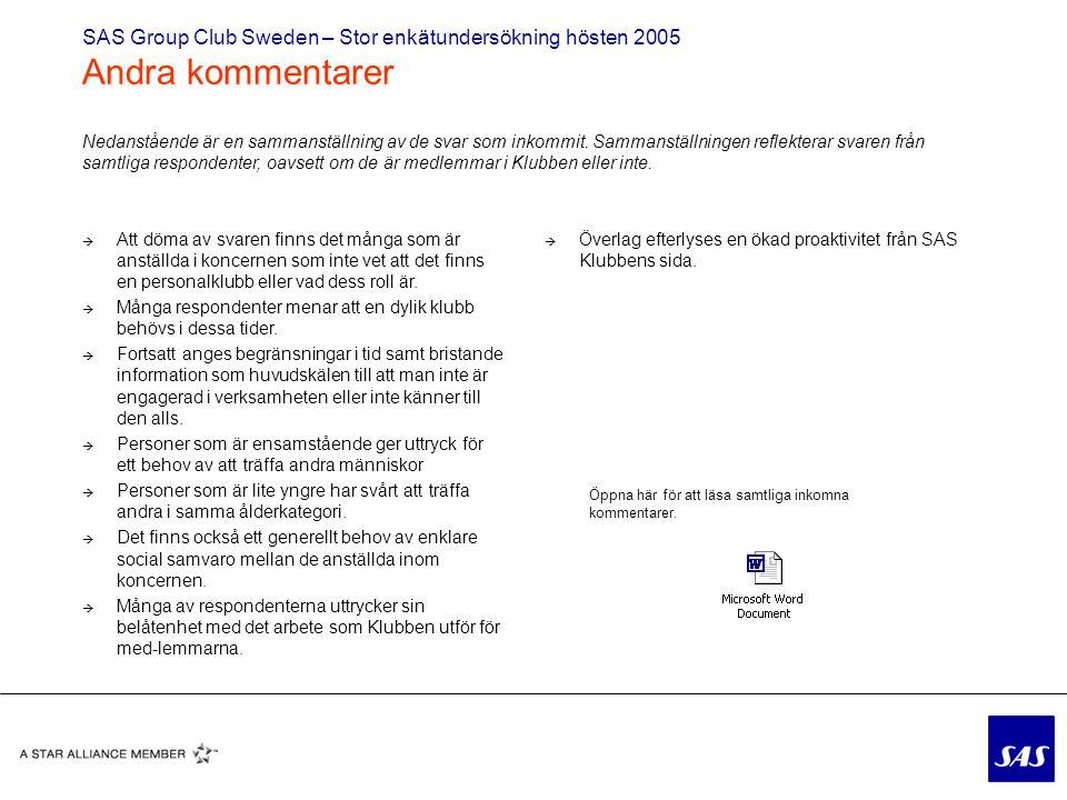 SAS Group Club Sweden – Stor enkätundersökning hösten 2005 Andra kommentarer  Att döma av svaren finns det många som är anställda i koncernen som inte vet att det finns en personalklubb eller vad dess roll är.