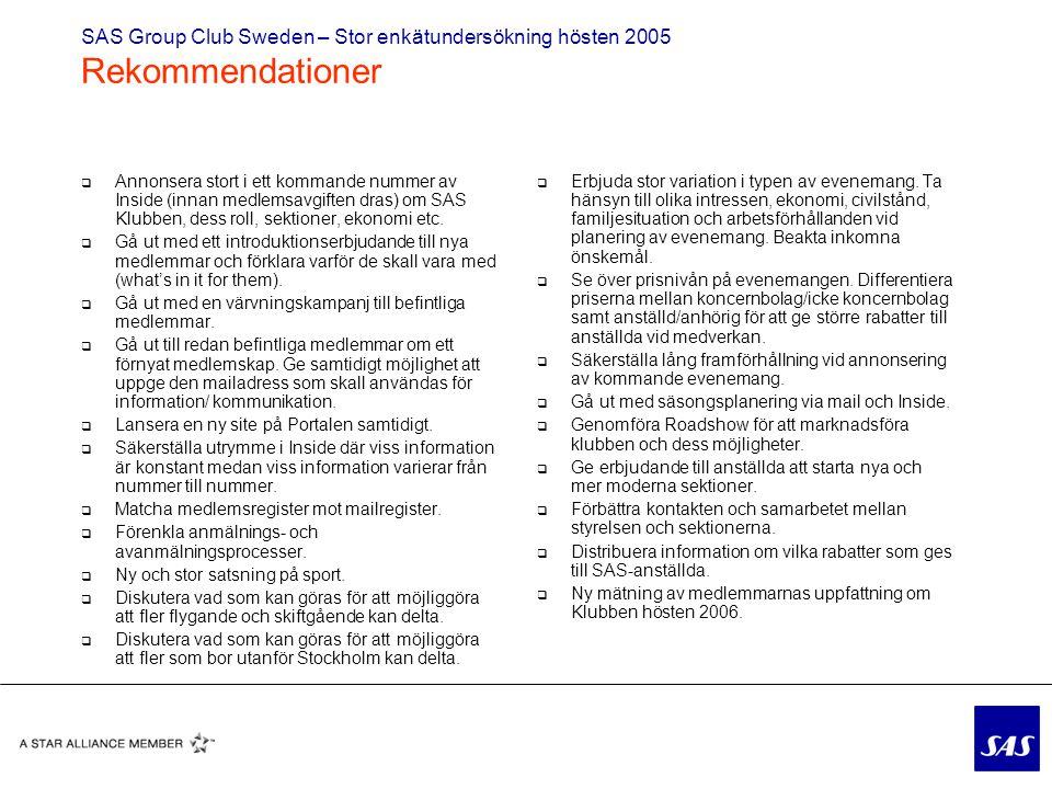  Annonsera stort i ett kommande nummer av Inside (innan medlemsavgiften dras) om SAS Klubben, dess roll, sektioner, ekonomi etc.