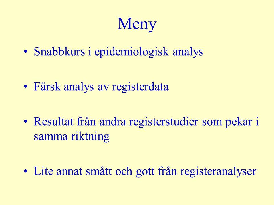 Meny Snabbkurs i epidemiologisk analys Färsk analys av registerdata Resultat från andra registerstudier som pekar i samma riktning Lite annat smått oc