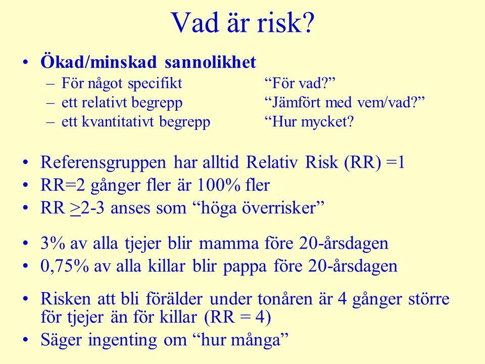 """Vad är risk? Ökad/minskad sannolikhet –För något specifikt """"För vad?"""" –ett relativt begrepp """"Jämfört med vem/vad?"""" –ett kvantitativt begrepp""""Hur mycke"""