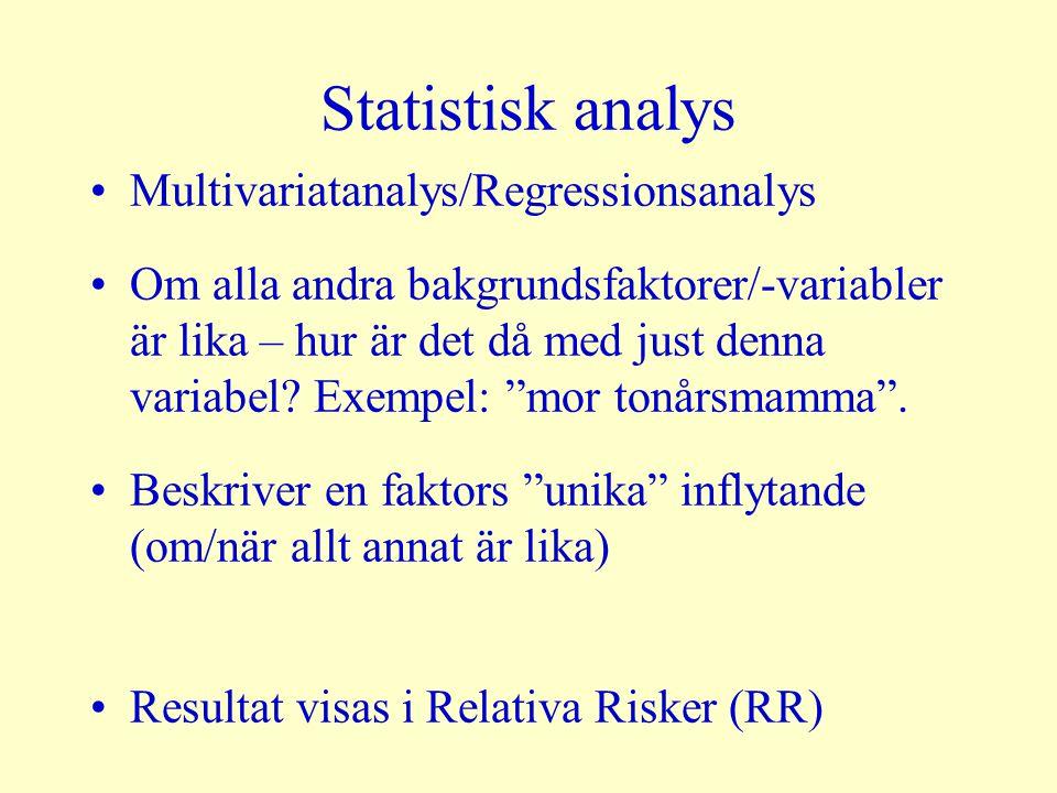 Statistisk analys Multivariatanalys/Regressionsanalys Om alla andra bakgrundsfaktorer/-variabler är lika – hur är det då med just denna variabel? Exem