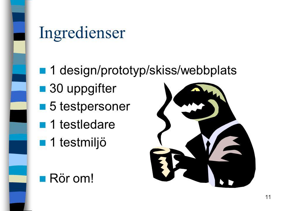 11 Ingredienser 1 design/prototyp/skiss/webbplats 30 uppgifter 5 testpersoner 1 testledare 1 testmiljö Rör om!