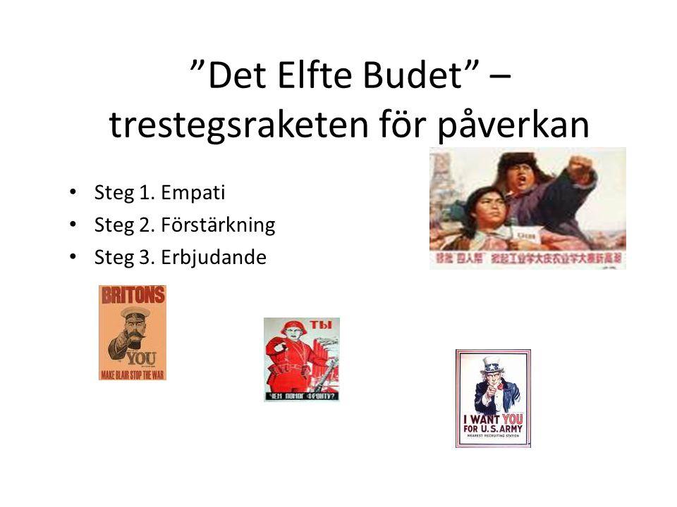 """""""Det Elfte Budet"""" – trestegsraketen för påverkan Steg 1. Empati Steg 2. Förstärkning Steg 3. Erbjudande"""