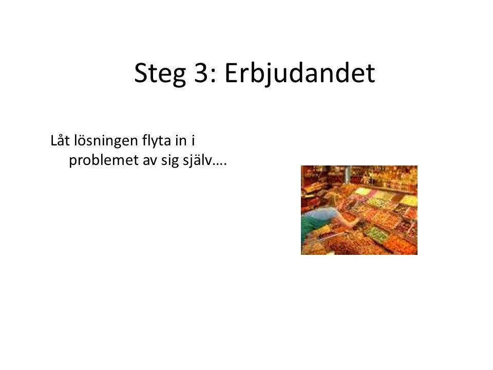Steg 3: Erbjudandet Låt lösningen flyta in i problemet av sig själv….