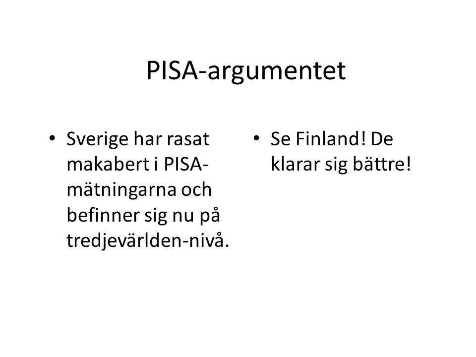 PISA-argumentet Sverige har rasat makabert i PISA- mätningarna och befinner sig nu på tredjevärlden-nivå. Se Finland! De klarar sig bättre!