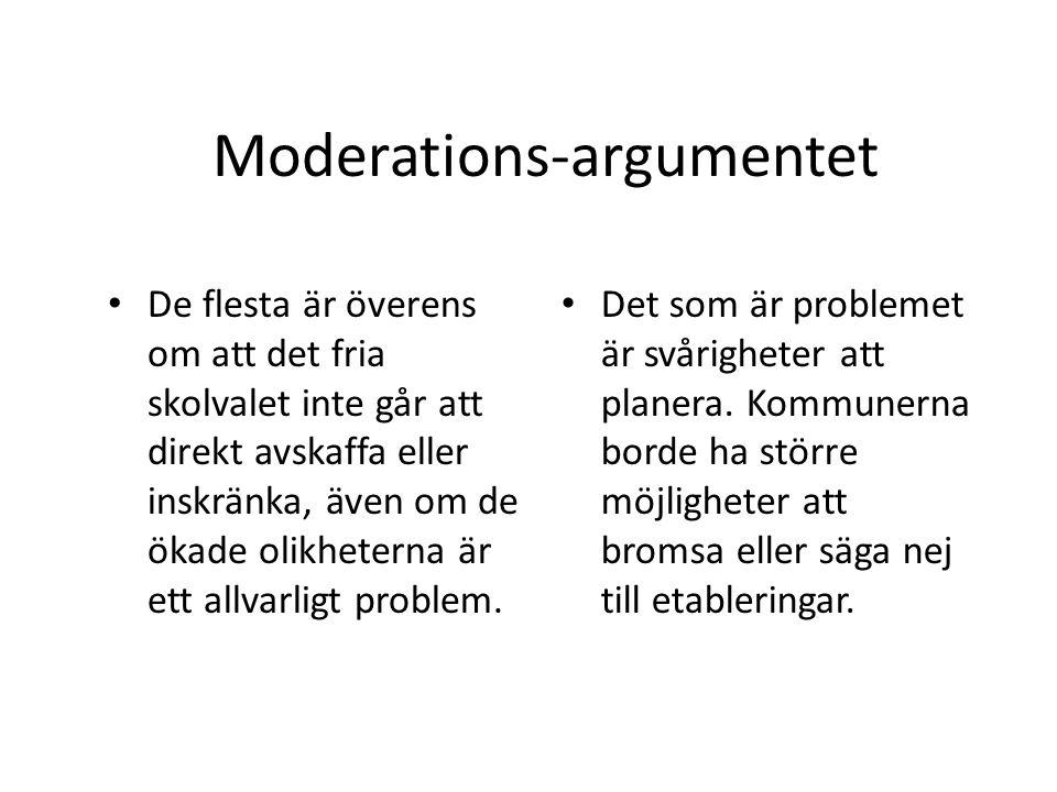 Moderations-argumentet De flesta är överens om att det fria skolvalet inte går att direkt avskaffa eller inskränka, även om de ökade olikheterna är et