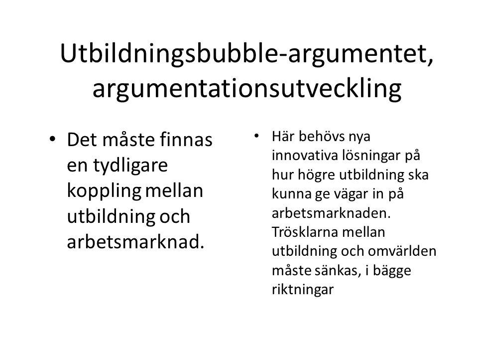 Utbildningsbubble-argumentet, argumentationsutveckling Det måste finnas en tydligare koppling mellan utbildning och arbetsmarknad. Här behövs nya inno