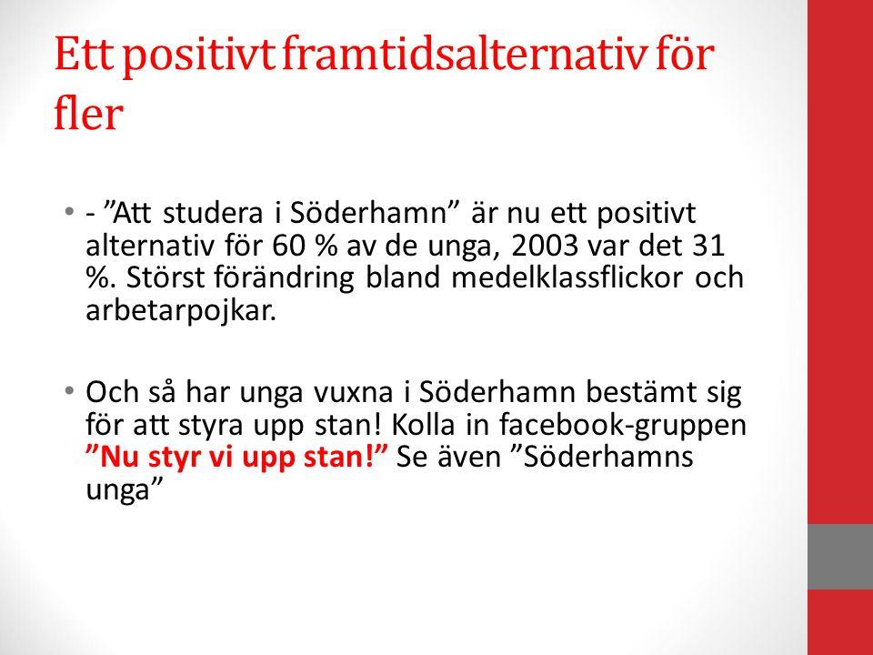 """Ett positivt framtidsalternativ för fler - """"Att studera i Söderhamn"""" är nu ett positivt alternativ för 60 % av de unga, 2003 var det 31 %. Störst förä"""