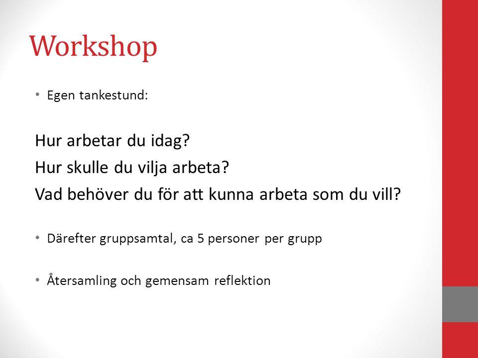 Workshop Egen tankestund: Hur arbetar du idag? Hur skulle du vilja arbeta? Vad behöver du för att kunna arbeta som du vill? Därefter gruppsamtal, ca 5