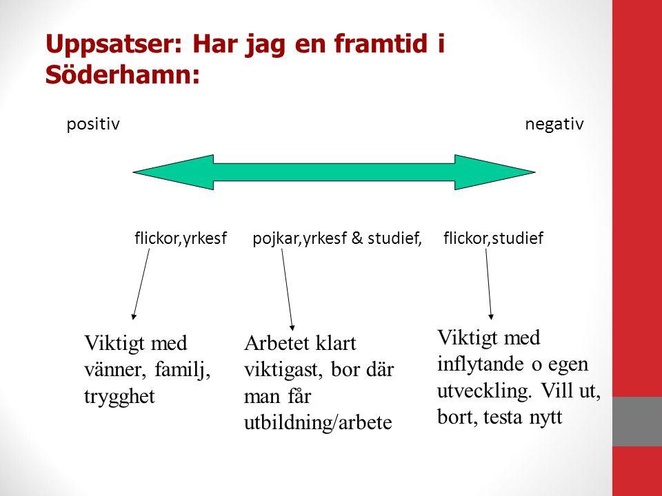 Uppsatser: Har jag en framtid i Söderhamn: positivnegativ flickor,yrkesf pojkar,yrkesf & studief, flickor,studief Viktigt med vänner, familj, trygghet