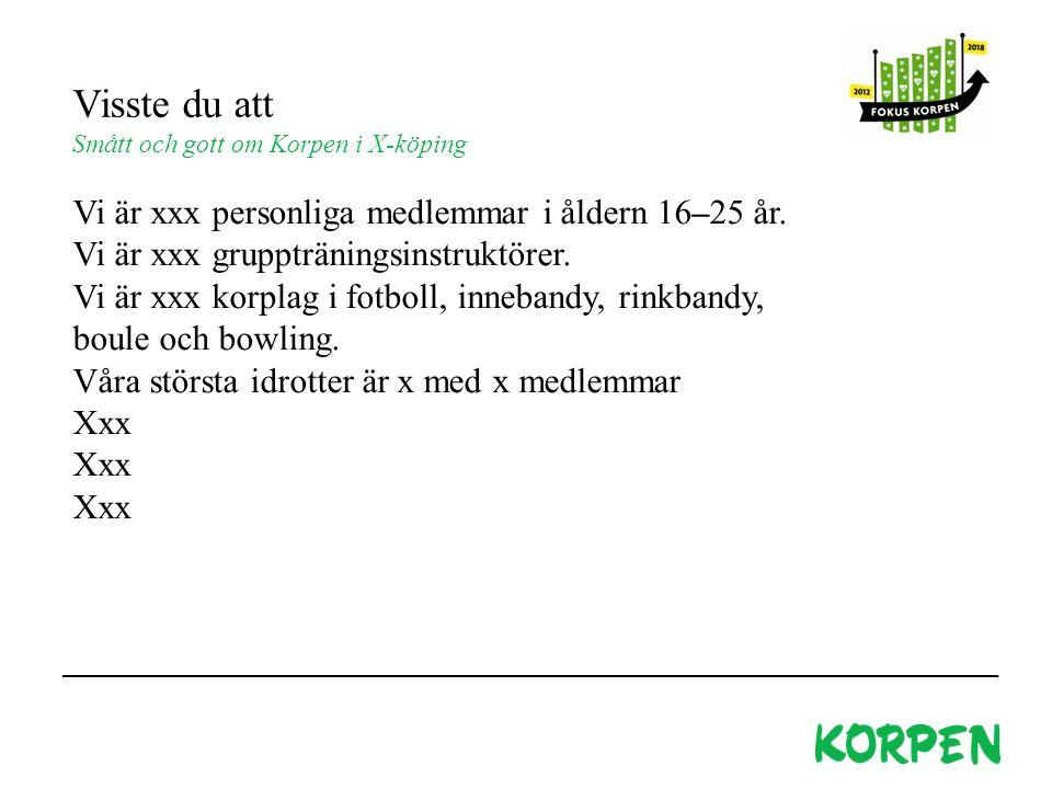 Visste du att Smått och gott om Korpen i X-köping Vi är xxx personliga medlemmar i åldern 16–25 år.