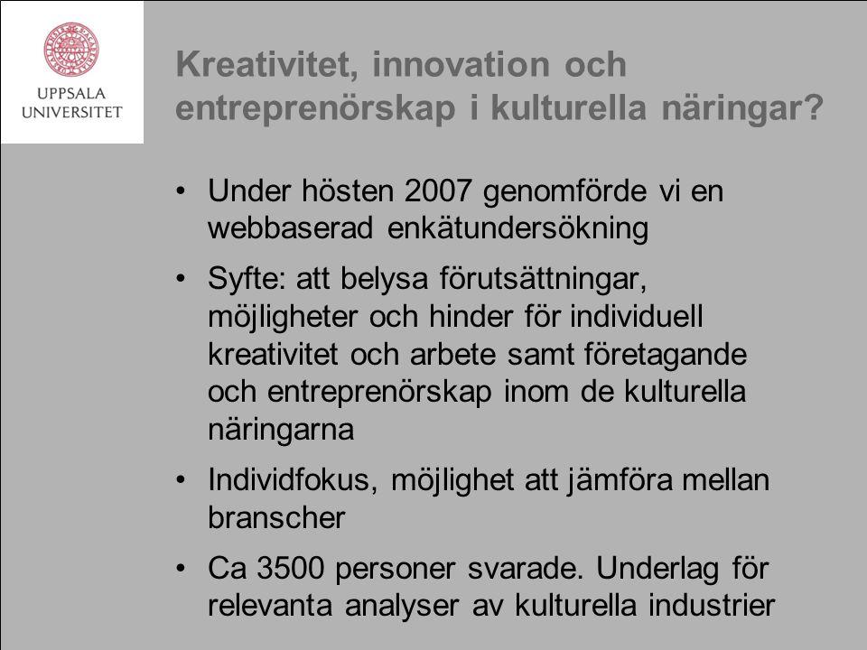 Kreativitet, innovation och entreprenörskap i kulturella näringar.
