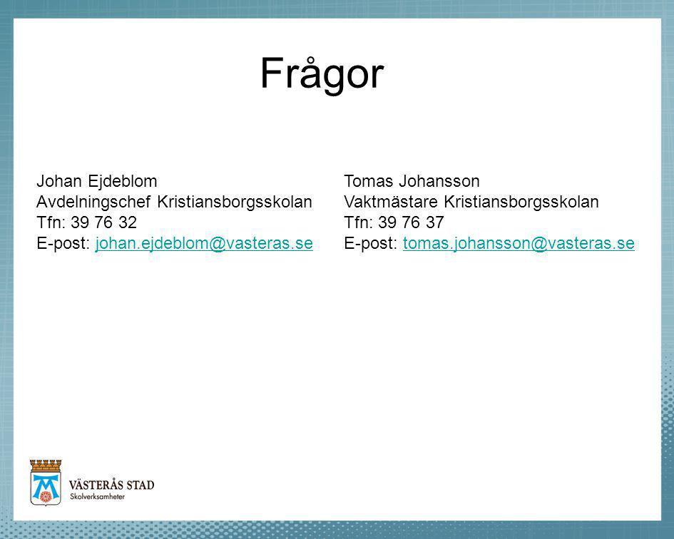 Frågor Johan Ejdeblom Avdelningschef Kristiansborgsskolan Tfn: 39 76 32 E-post: johan.ejdeblom@vasteras.sejohan.ejdeblom@vasteras.se Tomas Johansson V