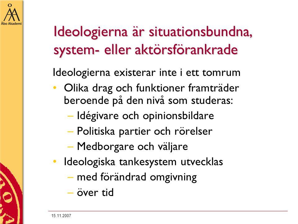 15.11.2007 Ideologierna är situationsbundna, system- eller aktörsförankrade Ideologierna existerar inte i ett tomrum Olika drag och funktioner framträ