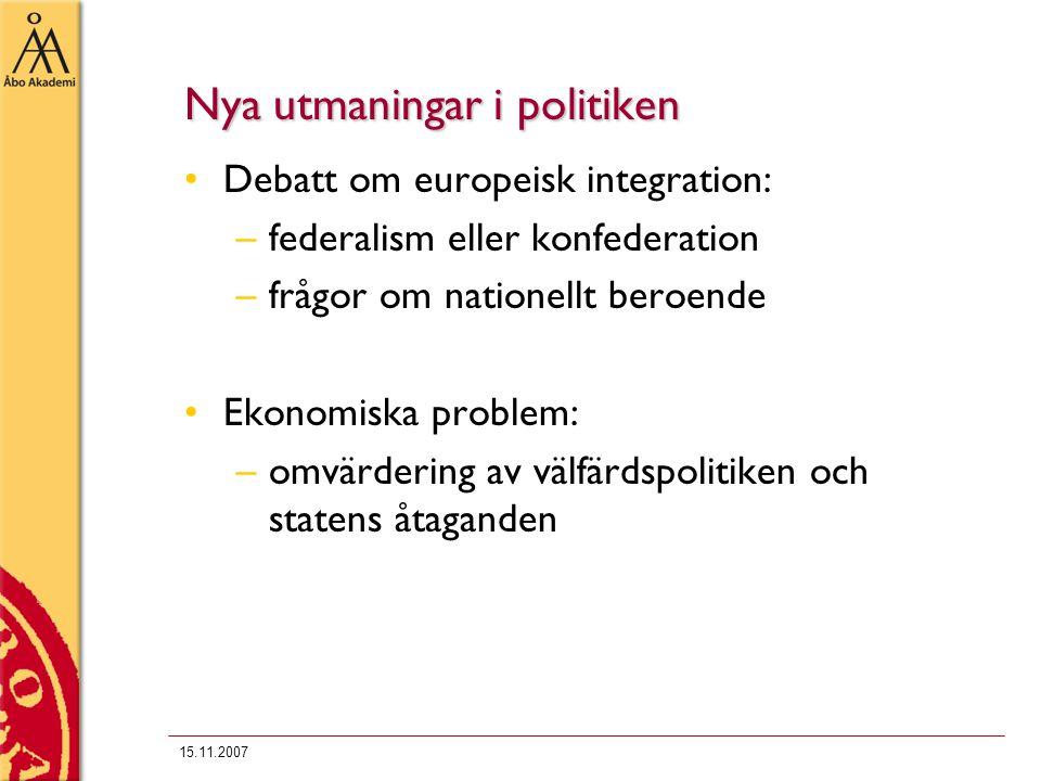 15.11.2007 Nya utmaningar i politiken Debatt om europeisk integration: –federalism eller konfederation –frågor om nationellt beroende Ekonomiska probl