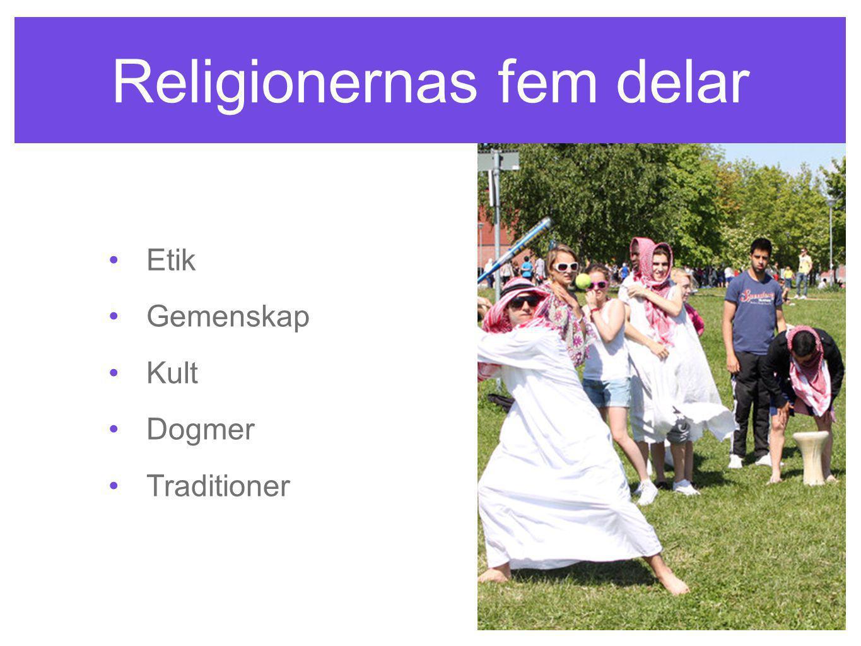 Religionernas fem delar Etik Gemenskap Kult Dogmer Traditioner