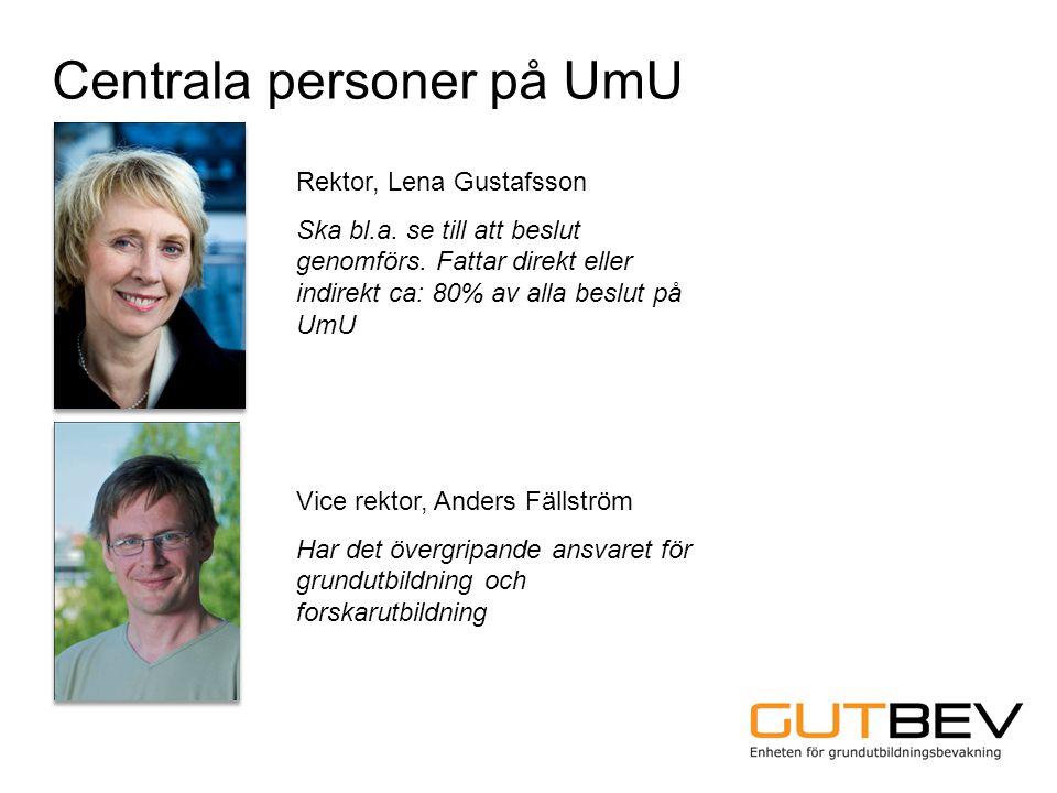 Centrala personer på UmU Rektor, Lena Gustafsson Ska bl.a. se till att beslut genomförs. Fattar direkt eller indirekt ca: 80% av alla beslut på UmU Vi