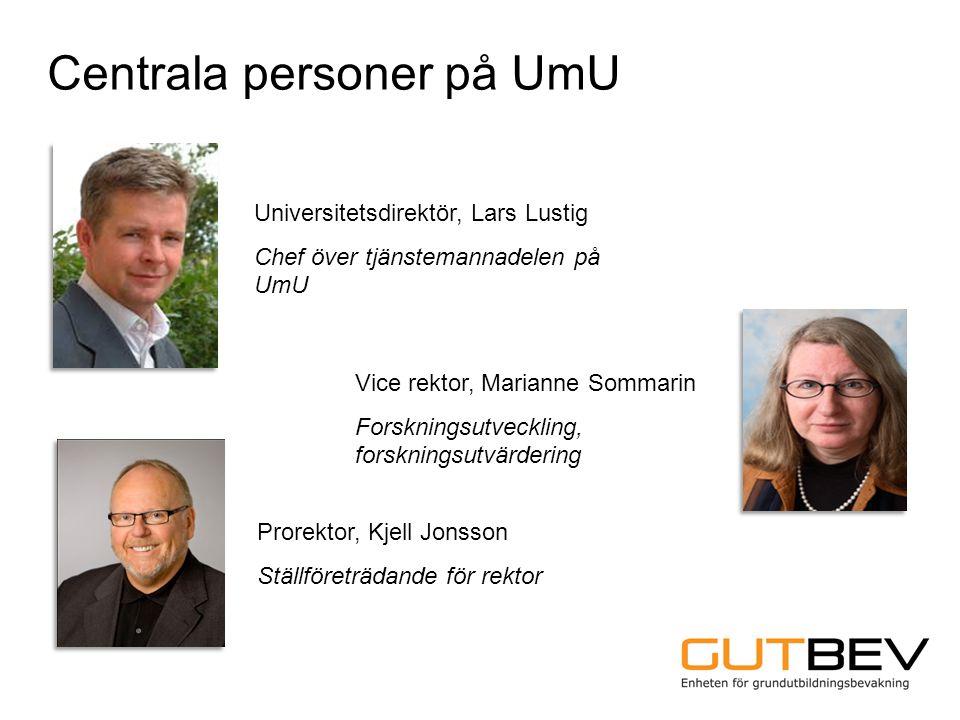 Centrala personer på UmU Universitetsdirektör, Lars Lustig Chef över tjänstemannadelen på UmU Prorektor, Kjell Jonsson Ställföreträdande för rektor Vi