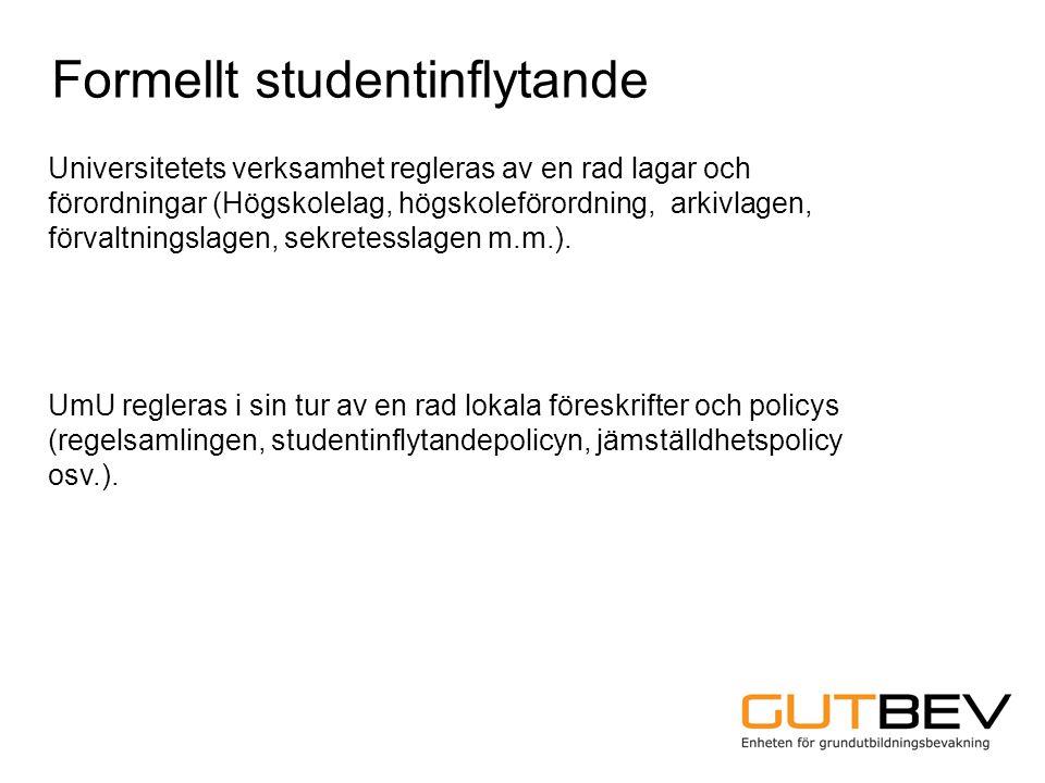 Universitetets verksamhet regleras av en rad lagar och förordningar (Högskolelag, högskoleförordning, arkivlagen, förvaltningslagen, sekretesslagen m.